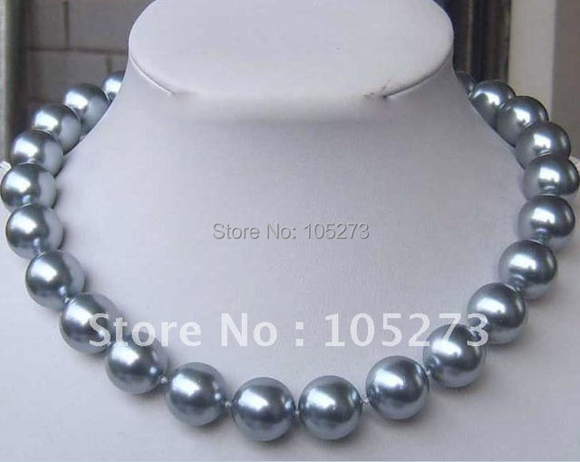 Stunning!Christmas mother-of-pearl necklace AA 6-12MM Round shaper nice Gray color Fashion jewelry Wholesale Free shipping NF99