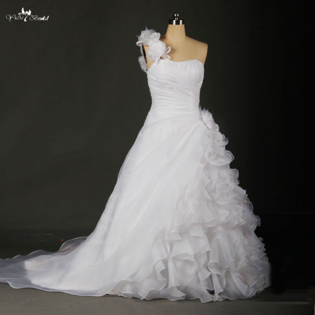 RSW46 Factory Outlet Lastest Beautiful Handmade Organza Flowers Ruffle Skirt Real Excellent Custom A-line Wedding Dress