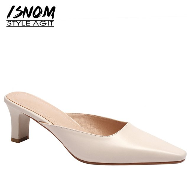 ISNOM Thick High Heels Woman Slippers Square Toe Footwear Genuine Leather Slides Female Shoes Mules Shoes Women Summer 2019 New