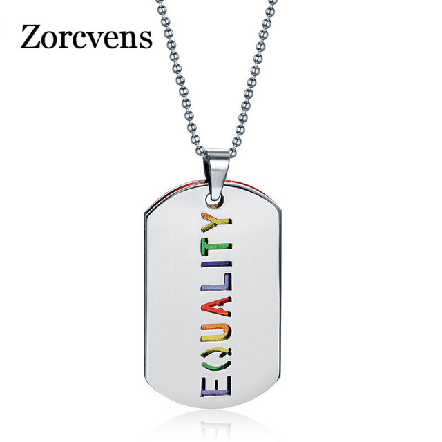 ZORCVENS Double Layer Necklace Pendant Stainless Steel Equality Rainbow Women Party Jewelry Free Chain