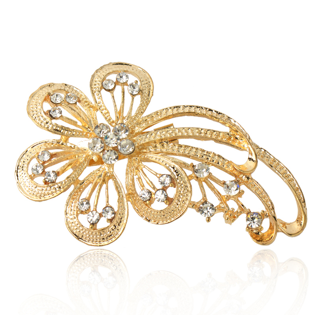 2019 New  Fashion Sterling Alloy brooch  jewerly rhinestone Flower Shape Brooches for women pin up broche jewelry wedding