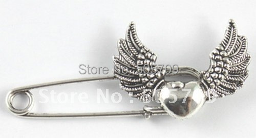 Whole Sales 30PCS Tibetan silver heart wing Safety Pin Brooch A15546