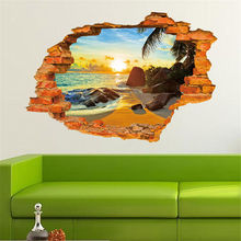 1 PCS New PVC Removable 3D Mural Art Poster Sunshine Beach Window View 3D Wall Stickers for Kids Home Decoration Wallpapers