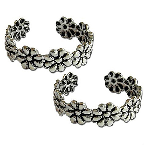 New Arrival 2Pcs Women Vintage Adjustable Silver Plated Finger Foot Toe Ring Jewelry