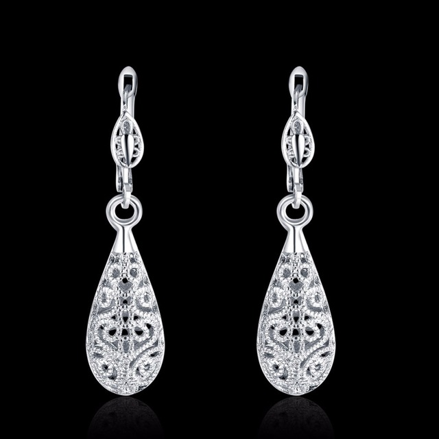 Wholesale for women WHITE gold color Charm Cute Retro Pretty Drop Earring free shipping Fashion Jewelry