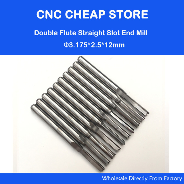 10pcs   2.5mm x 12mm Straight Slot Wood Cutter CNC Solid Carbide Two Double Flute CNC Router End Mill Milling MDF Plywood Bit