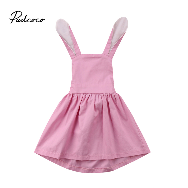 2018 Brand New Toddler Infant Child Kids Princess Girls Dress Solid Baby Lace Party Gown Formal Dresses Bunny Ears Dresses 1-5T