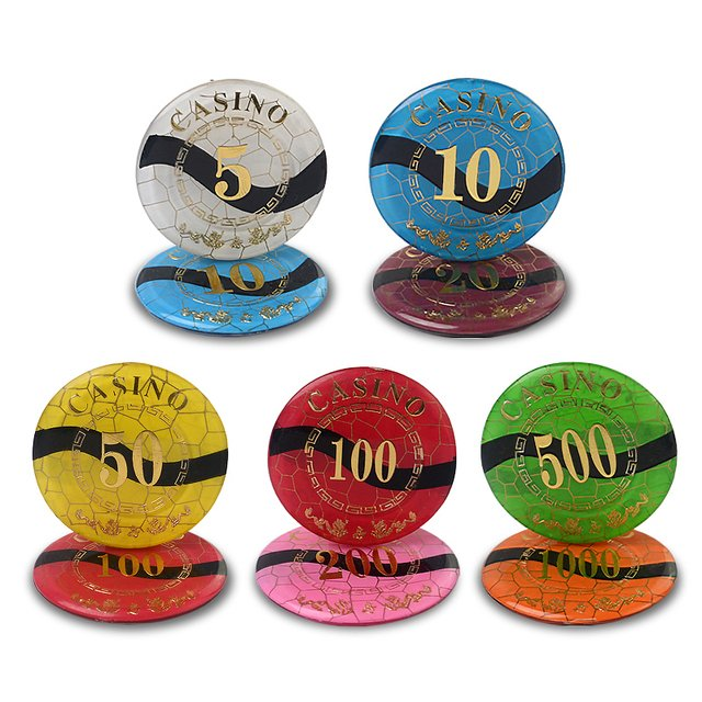 12 PCS/LOT Acrylic Casino  Poker Chips Double Dragon Design Texas Hold'em Baccarat Upscale SetClay Poker Chips