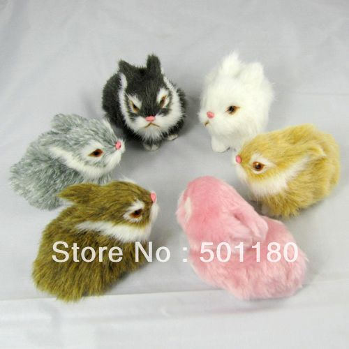 free shipping lucky charm artificial crafts animal rabbit toy decoration small rabbit figurine toy simulation mini rabbit