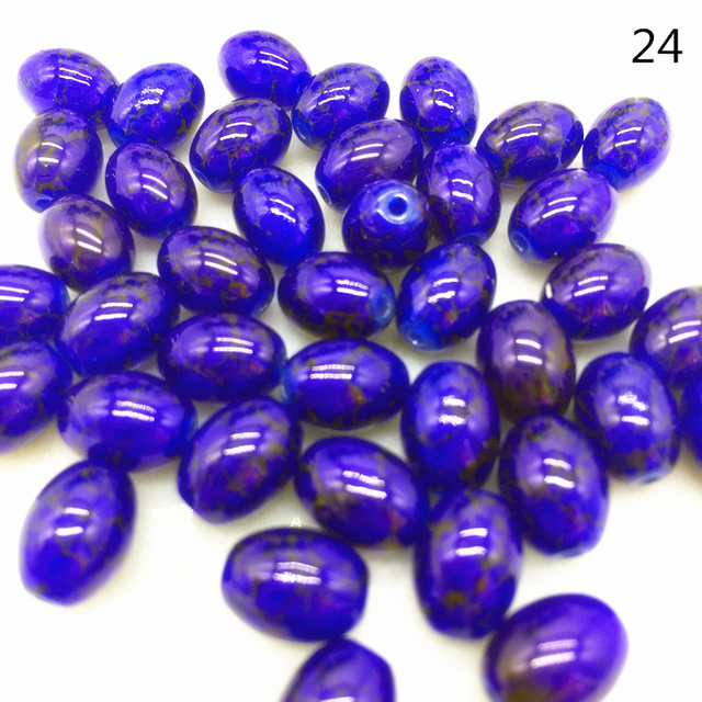 4 6 8 mm  Rugby Shaped Glass Beads Pattern Spacer Loose Jewelry Making Wholesale# TY24