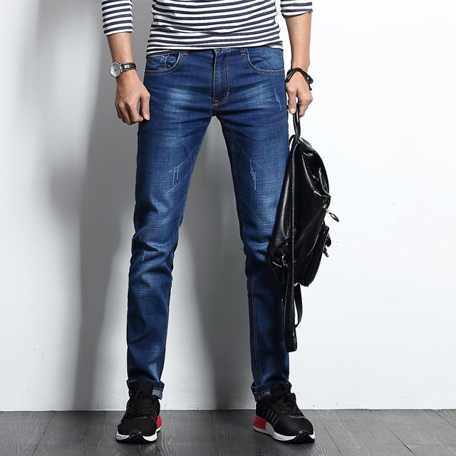 Free Shipping New High Quality 2018 Men's Autumn Straight Blue Jeans Business Casual Pants Denim Long Trousers Plus Size 28-38
