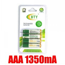 4*BTY AAA Ni-MH Rechargeable Battery Pack 1350Mah Up To 1100 Cycles