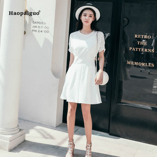 2018 Plus Size Solid A-line Dress Summer Women White Short Sleeve O-neck Chiffon Casual Office Mini Dress Party Club Dresses
