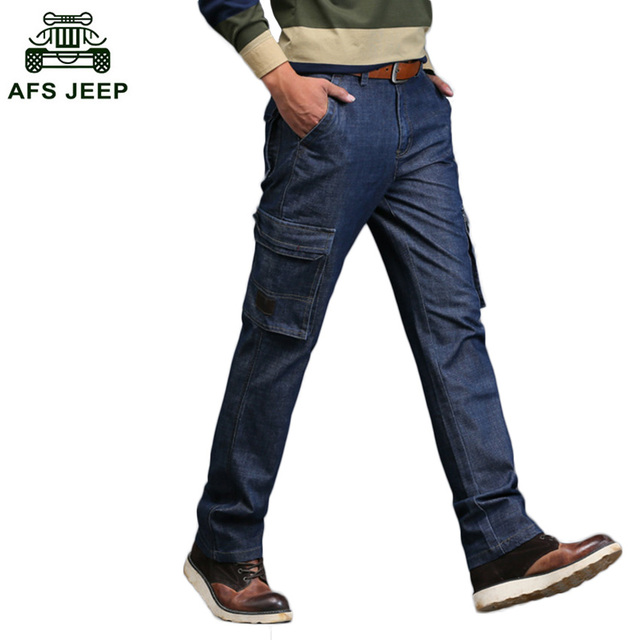 Free Shipping Men Denim Cargo Pants 2018 AFS JEEP Men Jeans Casual Solid Multi Pockets Straight Long Pants D80