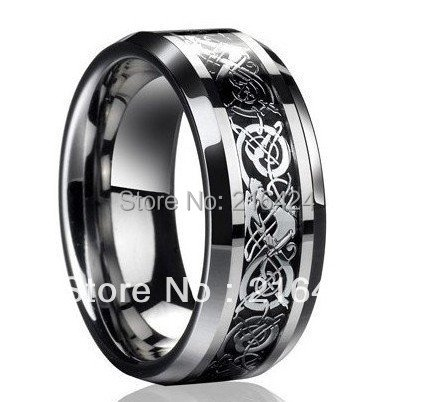 Free Shipping Best Christmas Gifts Dragon Tungsten Carbide Ring Mens Jewelry Wedding Band Silver New size 7/8/9/10/11/12/13