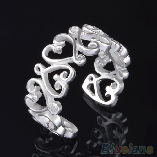 Lady Fashion Silver Plated Love Heart Opening Adjustable Ring Valentine Gift 4PNH