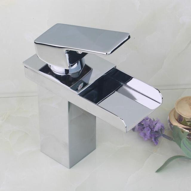 Brass sink basin faucet water tap, Bathroom chrome wash basin faucet waterfall, Copper single hole basin faucet hot and cold