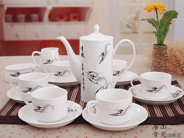 Fine bone china coffee set, traditional chinese shrimp painting, european coffee cup and saucer set, 21-piece set, crafts teapot