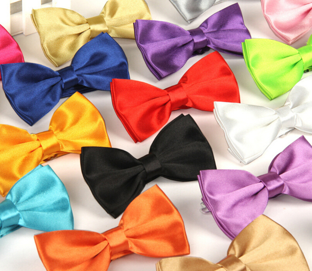 In stock Polyester Fashion Casual shinny  solid color men bow tie Classic Man's Business Wedding bowknot /men's different tie