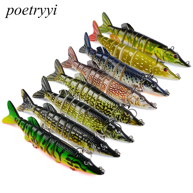 POETRYYI 12.5cm 20g 9-segement Isca Artificial Pike Lure Muskie Fishing Lures Swimbait Crankbait Hard Bait Fishing Accessory Y30
