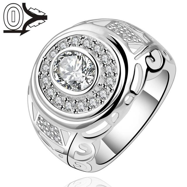 Wholesale Silver-plated Ring,Silver Fashion Jewelry,Women&Men Gift Round Crystal Stone Broad Silver Finger Rings