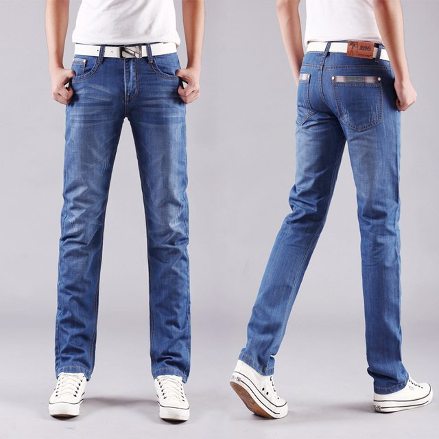 Men Jeans Business Casual Thin autumn Straight Slim Fit Blue Jeans Stretch Denim Pants Trousers Classic Cowboys Young Man