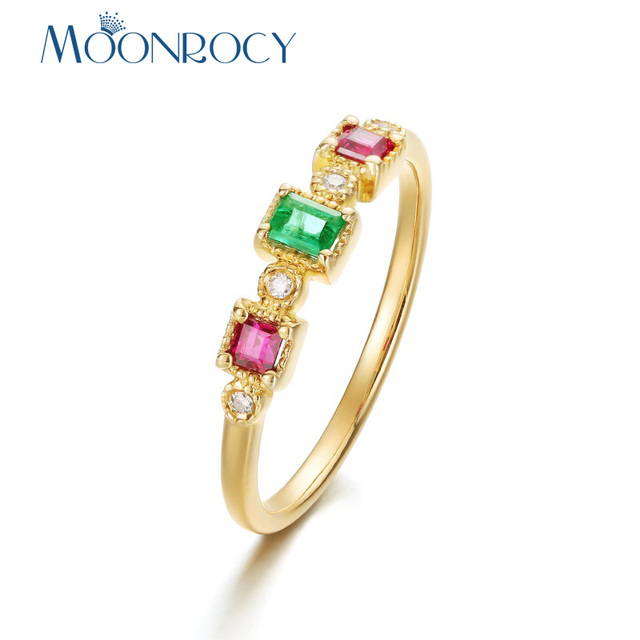 MOONROCY Colorful CZ Crystal Ring Light Gold Color Party Wedding Rings Jewelry for Women Girls Gift Drop Shipping Wholesale
