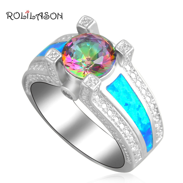 Appealing Mystic  Blue fire Opal silver plated Rings Wholesale & Retail fashion Jewelry USA Ring SZ #6 #7 #8 #9 #10 OR645