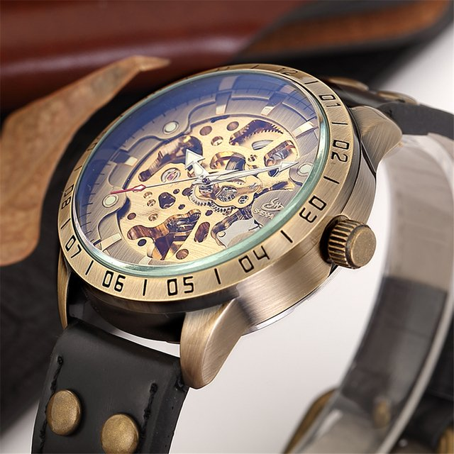 SHENHUA Top Brand Mens Mechanical Watches Males Retro Bronze Automatic Skeleton Steampunk Leather Automatic Watch Luxury Gifts