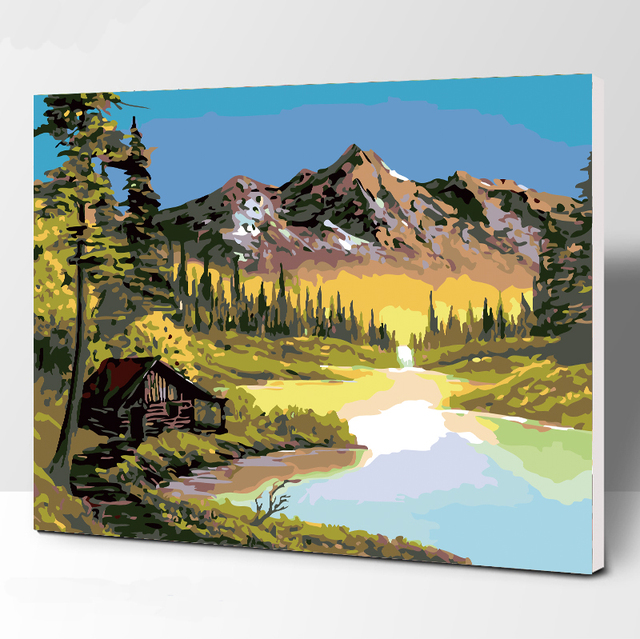 Frameless Picture Alps DIY Painting By Numbers Modern Wall Art Handpainted Oil Painting On Canvas For Home Decor