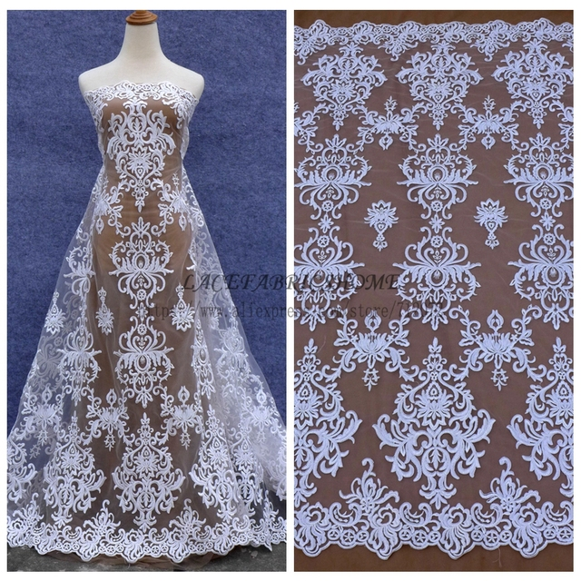 La Belleza  2017 new off white cord  on netting rayon embroidered wedding dress lace fabric 47'' width