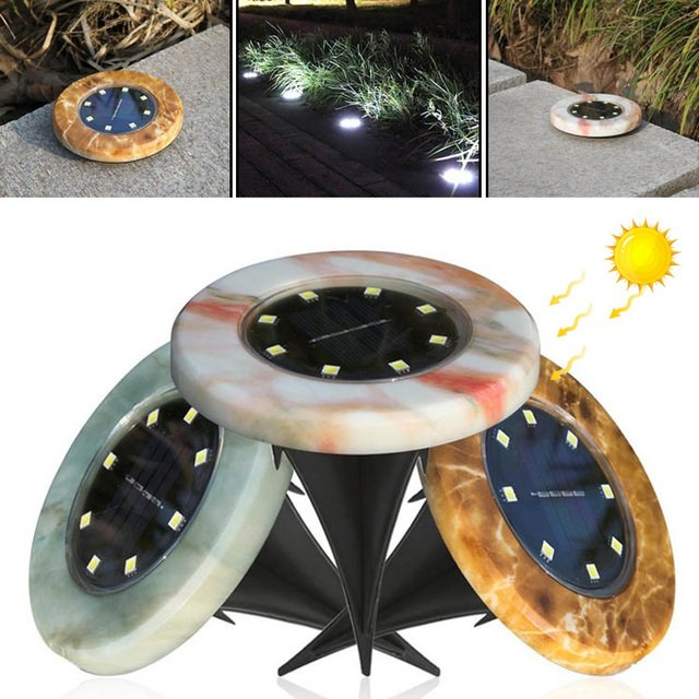 Durable Disk Lights Solar Power 8LED Marble Light-Controlled IP65 Waterproof Walkway Lights Landscape Light Path Way Street