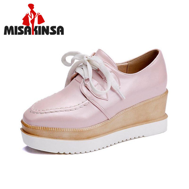 FITWEE Size 33-43 Female High Heel Shoes Cross Strap Soft Wedges Shoes Candy Colors Comfortable Square Toe Students Footwears