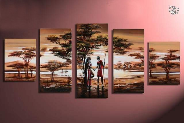 hand-painted wall art  forest  lake scenery lovers decoration abstract  Landscape oil painting on canvas 5pcs/set framed