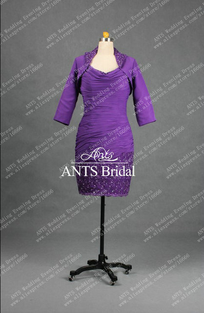 MD310 Stylish Formal Tea Length Purple Mother of the Bride Dress