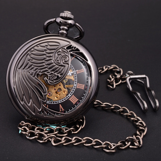 New Retro Vintage Phoenix Wings Carving Designer Skeleton Watch Hand Wind Classic Elegant Skeleton Mechanical Pocket  Fob Watch