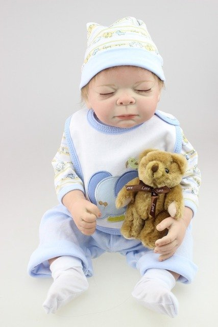2016 Newborn Simulation Babydoll Silicone Vinyl Doll Educational  Baby toys Girls Present with soft PP cotton body