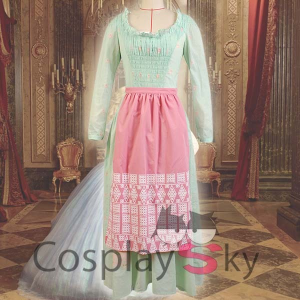 Famous Moive Cinderella Maid Cosplay Costume Halloween Uniform Party Dress+Apron