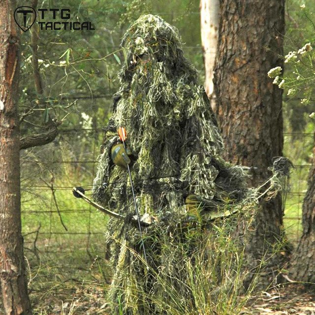 Camouflage Hunting Ghillie Suit Yowie Sniper Ghilly Suit for Airsoft Paintball Breathable Mesh Lining Woodland/Desert