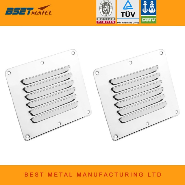2PCS Marine Grade Stainless Steel 316 Boat Marine Square Air Vent Louver Vent Grille Ventilation Louvered Ventilator Grill Cover