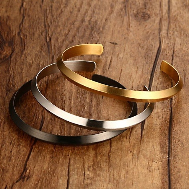 NEWBUY Fashion Women Stainless Steel Bangles For Party  Simple Style Gold/Black Color Bracelets & Bangles Female Jewelry