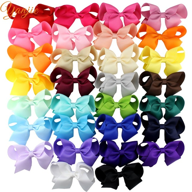 "30pcs/lot 4"" Grosgrain Hair Bows Barrette Solid Ribbon Hair Clips For Women Hot-sale DIY Girls Hair Accessories For Kids Party"