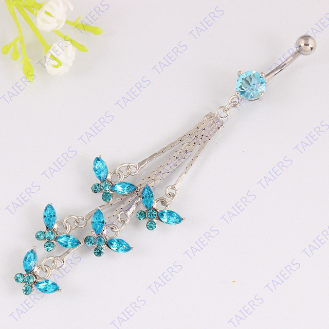 Crystal Tassel butterfly Navel bar body piercing Belly button ring  fashion Navel ring 14G 316L surgical steel bar Nickel-free