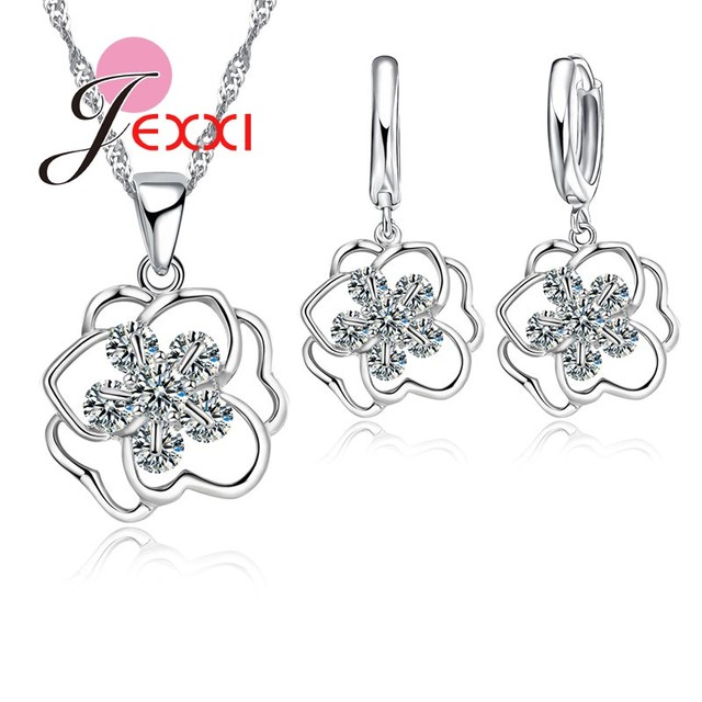 Bijoux Women Female Bridal Wedding Jewelry Sets 925 Sterling Silver Hollow Rose Flower Necklace Drop Piercing Earrings