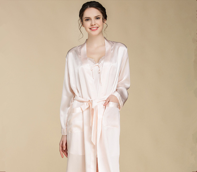100% silk light weight woven fabric robe gorgeous satin washable silk full length robes gown set women washable silk robe home