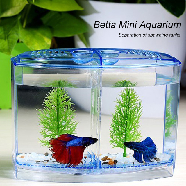 LED Light Triple Cube Betta Aquarium Box Separate Breeding Spawning Fish-Breeding-Box Isolation-Box Seedlings Aquarium Fish Tank