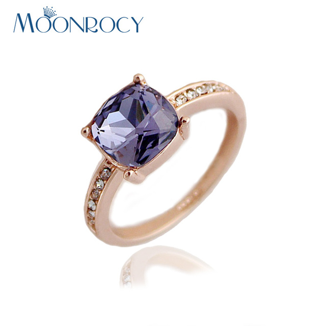 MOONROCY Drop Shipping Rose Gold Color Cubic Zirconia Austrian Crystal Rings fashion jewelry blue purple ring for women