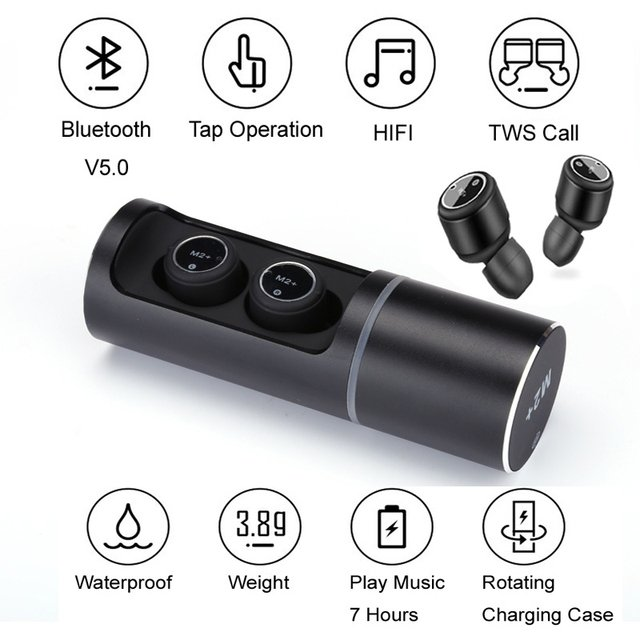 Portable Stereo Earset Noise Reduction 700mA Wireless Bluetooth Headphone Tap Control Mini Invisible Earphones Music