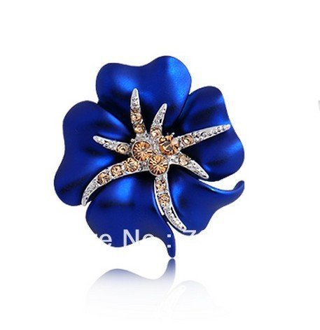 Silver Plated Rhinestone Crystal Diamante Blue Flower and Small Starfish Pin Brooch 1""
