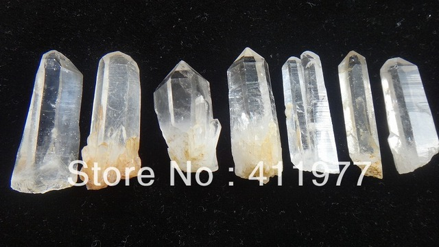 7  Rare clear natural single end lemuria seed point crystal specimen